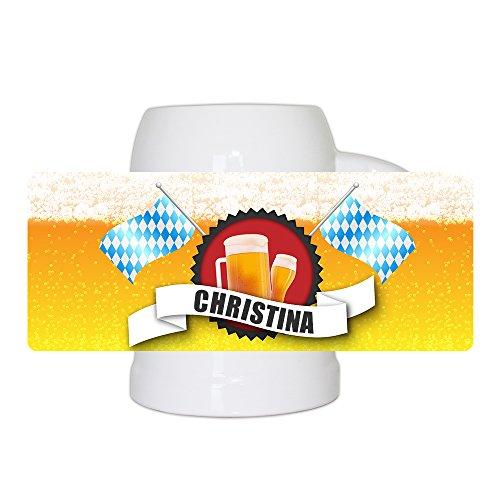 Bierkrug mit Name Christina und schönem Bier-Motiv mit blau-weißen Flaggen | Bier-Humpen | Bier-Seidel