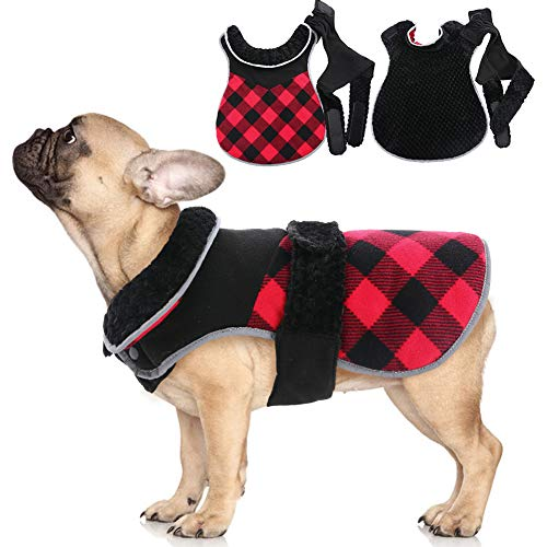 IDOMIK Reversible Dog Vest, Fleece Dog Winter Jacket For Small Medium Large Breeds, Warm Plaid Coat With Harness Hole For Girl Boy Dog, Cozy Pet Cold Weather Clothes, Puppy Autumn Apparel Furry Collar