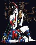 Ojmikmg Pintura por Números para Adultos Niños Pintar por Numeros Mujer con Maquillaje con Pinceles y Pinturas Decoraciones DIY Lienzo Digital al óleo Regalo 40 x 50 cm Sin Marco