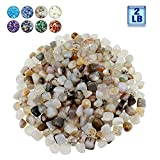 BXI - Decorative Stones - Garden Yard Walkway Fish Tank Aquaruim - Gravel Pebble Rock - 2 Pounds (Blue Glass Sand)
