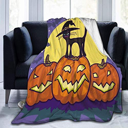 NOBRAND Manta De La Siesta Felpa Sofás Franela Gato de Halloween de Franela Buen sueño L127cm x W102cm