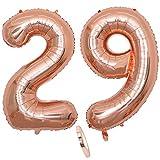 2 Globos Número 29 Años, Number 29 Globo Chica de oro rosa, 40Figuras de globos con globo de lámina de helio inflable, Globo gigante para la decoración de la fiesta de cumpleaños, Prom (xxxl 100cm)