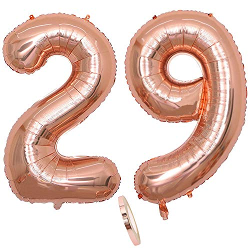 """2 Globos Número 29 Años, Number 29 Globo Chica de oro rosa, 40""""Figuras de globos con globo de lámina de helio inflable, Globo gigante para la decoración de la fiesta de cumpleaños, Prom (xxxl 100cm)"""