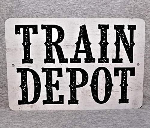 The454esa Metal Sign Train Depot Station Railway Railroad Freight Locomotive Passenger Transport steam Engine 8