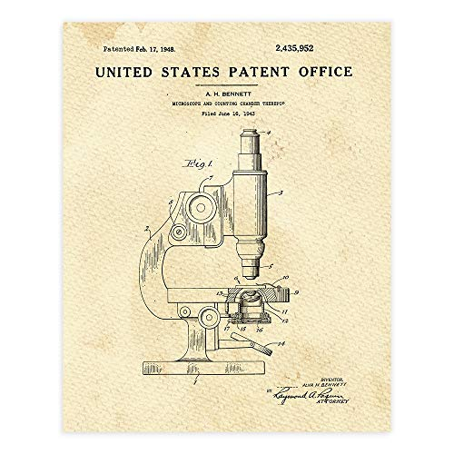 Microscope Patent Print Wall Art - Unframed - 8x10