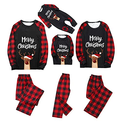 Conjunto de pijama familiar de Navidad de vacaciones para mujeres, hombres, niños, ropa de dormir de bebé de manga larga, B-rojo, XL