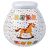 Pot of Dreams Box Fund Money Break to Open Piggy Cute Savings Bank Pot for Nursery Room Decor | Ideal Baby Shower Gift | Ceramic | White, Multi, One Size