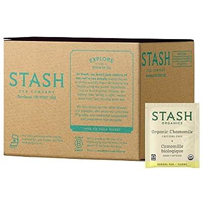 Stash Tea Organic Chamomile Herbal Tea 100 Count Tea Bags in Foil (Packaging May Vary) Individual Herbal Tea Bags for Use in Teapots Mugs or Cups, Brew Hot Tea or Iced Tea
