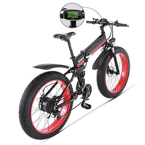 SHIJING Bicicleta eléctrica 1000W eléctrica Bici de la Pla