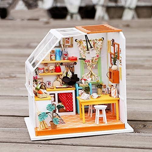 Miniatura Wooden DIY Doll House M l Dollhouse Miniature Kitchen Puzzle Toy Model Kits Toys-Jason Es Delicious Kitchen 18x16x18cm