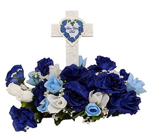 Fire Glo Solar Powered Glow in The Dark Memorial Cross with Flower Bouquette-Graveyard/Cemetary Decorations (Dad)