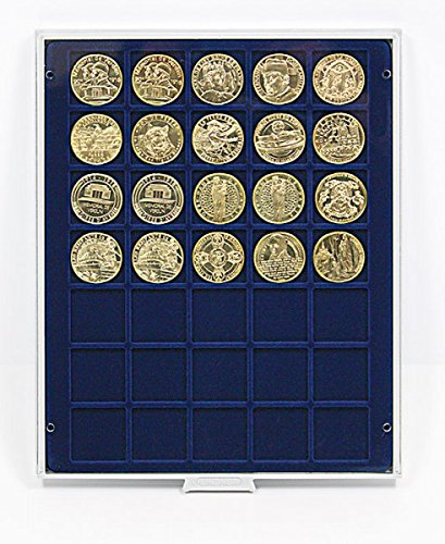 LINDNER Das Original Box Monnaies Marine à 35 alvéoles carrés pour Monnaies/Capsules jusqu'à Ø36 mm