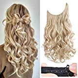 REECHO Halo Hair Extensions with Invisible Transparent Wire Adjustable Size Removable Secure Clips in Curly Wavy Hidden Crown Secret Hairpiece for Women 20 Inch - Medium Blonde with Pale Highlights