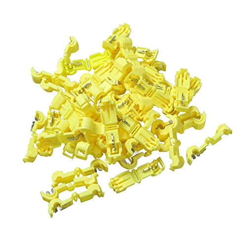 BLACKHORSE-RACING 50PCS T Tap Electrical Connectors Quick Wire Splice Taps and Insulated Male Quick Disconnect Terminals Car Alarm Wire Tap Connector 12-10 Gauge