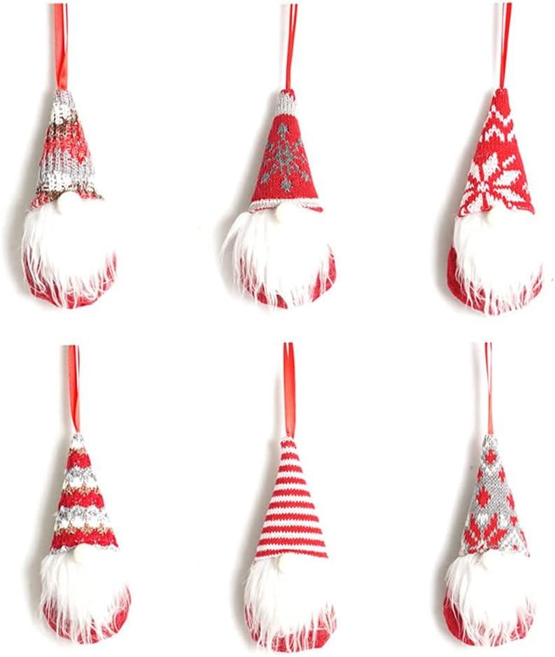 Likense 6 Pcs Christmas Tree Hanging Gnomes Ornaments, Elk Swedish Handmade Plush Gnome Santa Elf Walls, Stairs, Hanging Home Decor Holiday Decorations