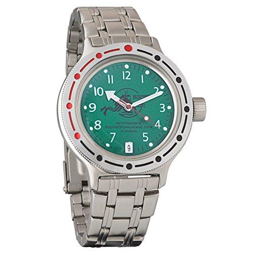 Reloj de pulsera automático para hombre (sumergible a 200m), diseño con estilo militar ruso, automático, verde, Vostok Amphibian 420386 2416B