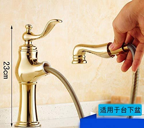 Professionele wastafelmengkraan keukenkraan De koper, Draw-Down, warm en koud, wastafels, schaalbaar, Single Handle Single Hole Sink Kraan Serie L 11