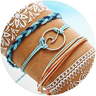 Wave Braided Rope Bracelet Set Handmade Waterproof Wrap Bracelet for Woman Kids