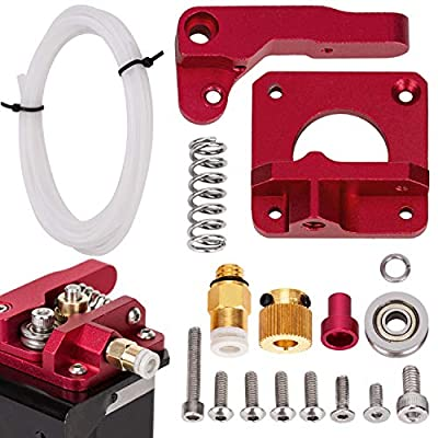 LUTER Aluminum 3D Printer MK-8 Extruder Feeder Drive Kit and White Teflon Tube PEFT Tubing(1 Meter) for Makerbot Creality CR-10 Ender 3 1.75mm Filament