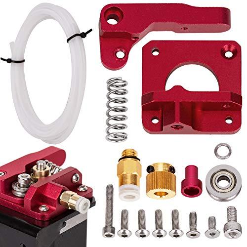LUTER Aluminium 3D Drucker MK-8 Extruder Feeder Drive Kit und PEFT-Schlauch aus weißem Teflonrohr (1 Meter) Für Makerbot Creality CR-10 Ender 3 1,75 mm Filament