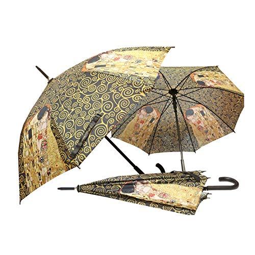 """CARMANI - Paraguas de paraguas manual de cierre abierto impreso con Gustav Klimt """"El beso"""""""