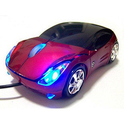 Ferrari - Ratón óptico USB con forma de coche, color rojo