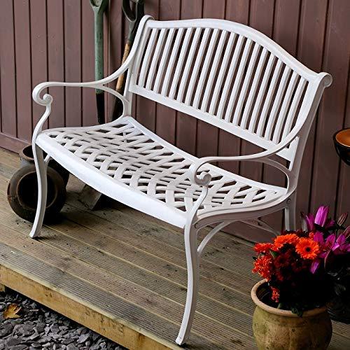 Lazy Susan – GRACE Gartenbank aus Aluminium, Weiß (Beiges Kissen) - 3