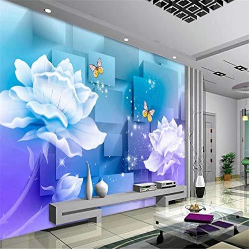 Moderne Fototapete transparente Blume elegante lila 3d Wohnzimmer Sofa Hintergrund Wanddekoration 140x100cm