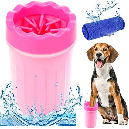 MEIRUIER Limpiador de Patas de Perro,Lavadora de pies de Perro,Taza de Limpieza para Mascotas,Limpiador de Patas para Perro Gato,Taza de pie para Mascotas (Rosa)