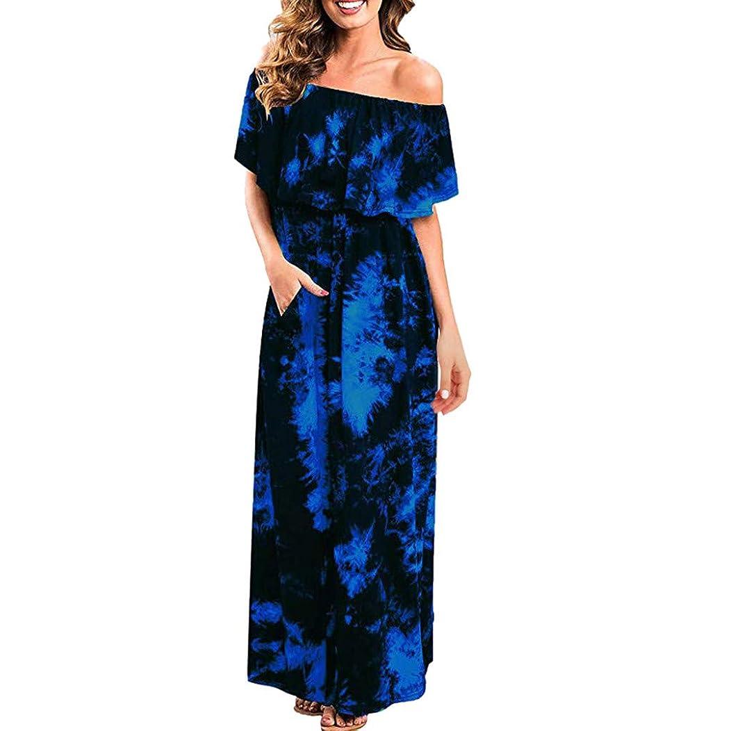 Womens Off The Shoulder Ruffle Party Dresses Ruffle Party Tie Dye Split Side Split Beach Maxi Dress