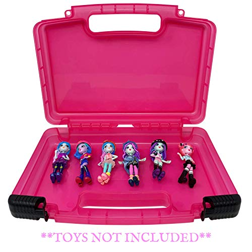 Life Made Better Portable Pink Toy Organizer Case, Carries Six+ Figurines, Compatible with Off The Hook Figures - Toys Not Included