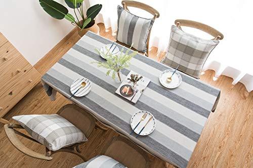 Creek Ywh minimalistisch Scandinavisch tafelkleed gestreept katoen en linnen tafelkleed rond TV-meubel op maat gemaakte strepen grijs 60 x 60 cm
