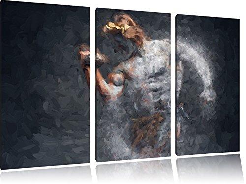 Pixxprint Sportler / 3-Teilig/Gesamtmaß 120cm Leinwandbild bespannt auf Holzrahmen/Wandbild Kunstdruck Dekoration