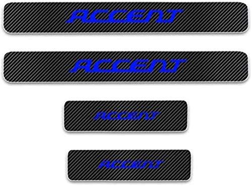 Anti-Kratz-Platte für Autoschwelle für Passend für 4 Stück Externes Carbon-Faser-Leder-Auto Kick-Platten Pedal for Hyundai ACCENT, Einstieg Willkommen Pedal-Tritt Scuff Threshold Bar Prot.