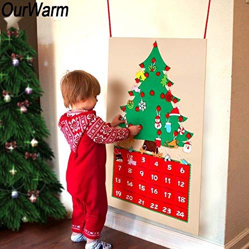 JIUYUE Árbol de Navidad Sentía DIY árbol de Navidad Calendario de Adviento Calendario de Adviento cumpleaños Tela Calendario de Adviento con los Bolsillos 2018 Año Nuevo Decoración