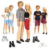 Miunana 10 Artículos para Muñecas = 3 Ropas Vestidos Y 2 Zapatos para Muñeca Chica + 3 Ropas Vestidos Y 2 Zapatos para Ken
