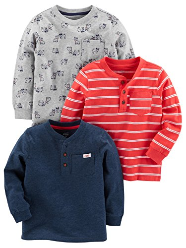 Simple Joys by Carter's Baby Boys' Toddler 3-Pack Long Sleeve Shirt, Gray, Navy, Red Stripe, 3T