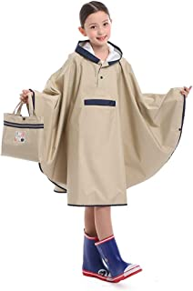Raincoat L/XL/2XL/3XL/4XL Breathable Poncho Children's Raincoats, Cycling, Boys and Girls, Cloaks, Raincoats, schoolbags (Color : Khaki, Size : XXXL)