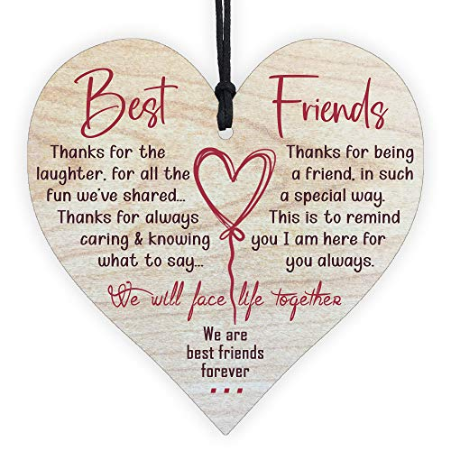 Gifts for Best Friends Birthday Women Friendship Special Wooden Heart Hanging Thoughtful Plaques Decorations Novelty Sign Memorial Quote Forever Love Romantic Xmas Ornament Merchandise Presents