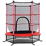 COSTWAY Trampolín de Ø140cm Cama Elástica de Jardín Trampolín para Niños con Red de Protección para Exterior Inteiror Patio