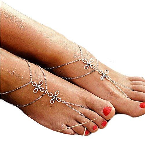 Fablcrew retro cavigliera braccialetto nodo cinese Foot cavigliera da sposa gioielli per donne sandali spiaggia