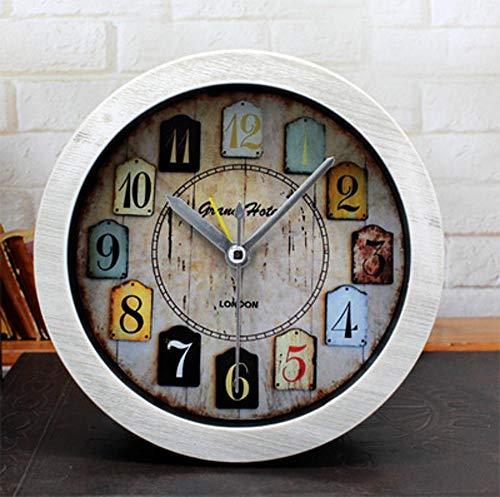 Yaju Quarz Pendeluhr Kaminuhren,Retro-alte Holz kleine Uhr Schlafzimmer Studie Desktop-Sitz