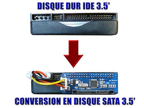 Kalea Informatique Adapter Konverter IDE auf SATA 1, 2oder 3–IDE 3,5 Zoll, 40Pins auf SATA 3,5 Zoll, 15+ 7Pins, für Festplatte oder CD-/DVD-Spieler/-Brenner, kompatibel mit allen Versionen von Windows, Mac, Linux