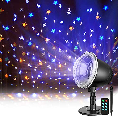 Star Projector, Night Light Projector for Kids, Indoor Outdoor Holiday Projector Lights with Remote Control, Waterproof LED Projector Light for Bedroom Garden Wedding Party Disco…