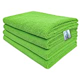 SOFTSPUN Microfiber Cleaning Cloths, 5pcs 40x60cms 340GSM Green! Highly Absorbent, Lint and Streak Free, Large Multi -Purpose Wash Cloth for Kitchen, Car, Window, Stainless Steel, silverware.