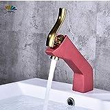 VIWIV Toque de Agua Faucet Full Copper Gold Basin Faucet WashBasin Cuarto de baño frío y frío Contador de Arte Faucet (Color : Red)