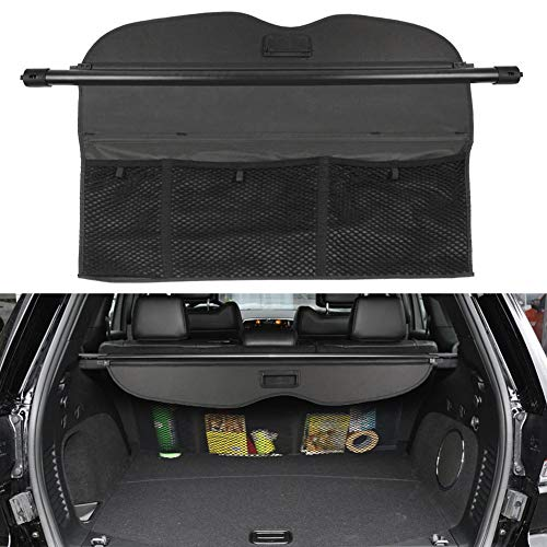 BOPARAUTO Cargo Cover for Jeep Grand Cherokee Accessories With Mesh Organizer 2011-2020 2021 Rear Trunk Shade Cover