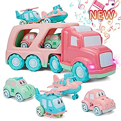 Cartoon Vehicles Playset Transport Car Carrier Truck, 5 in 1 Friction Powered Double Layer Transport Truck, 4 Macaron Friction Power Car/Airplane/Helicopter, Child Play Birthday Gift Party Favors from SHCKE