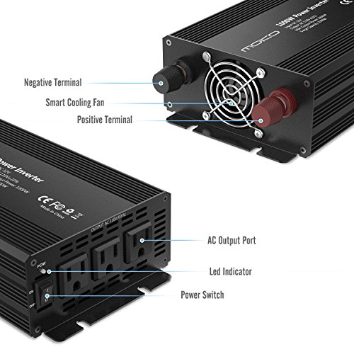 MoKo Power Inverter 1000 Watt Continuous/2000 Watt Peak, DC 12V to 110V AC Car Power Inverter with 3 AC Outlets,LED Indicator,Built-in Cooling Fan,4 Fuses(30A) - Black