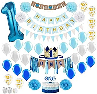 Baby Boy 1st Birthday Decorations WITH Birthday Crown - First Birthday Boy Decorations - Cake Smash Party Supplies - Happy...